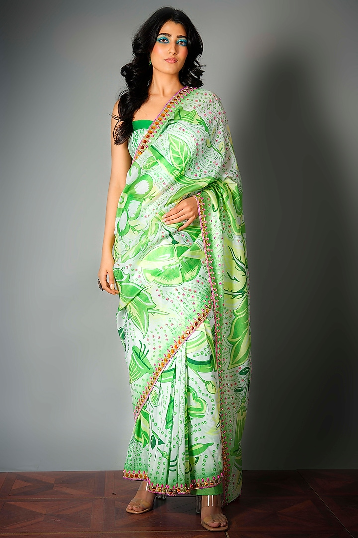 Green Printed Saree With Attached Blouse Piece by Saksham and Neharicka