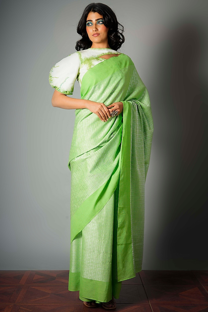 Green Silk Dori Saree With Attached Blouse Piece by Saksham and Neharicka