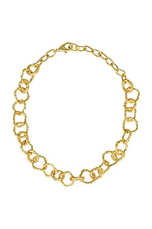 Gold Plated Crudo Catene Thin Necklace by Flowerchild By Shaheen Abbas