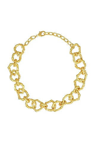 Gold Plated Crudo Catene Necklace by Flowerchild By Shaheen Abbas