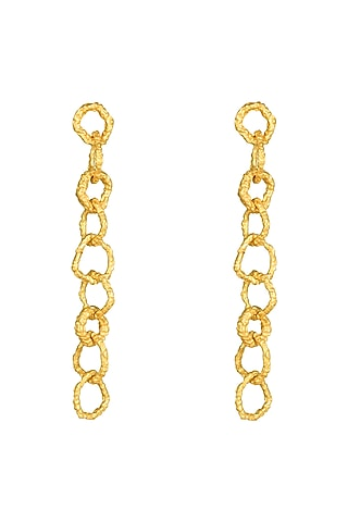 Gold Plated Crudo Catene Drop Earrings by Flowerchild By Shaheen Abbas