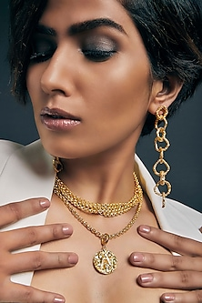 Gold Plated Crudo Catene Drop Earrings by Flowerchild By Shaheen Abbas