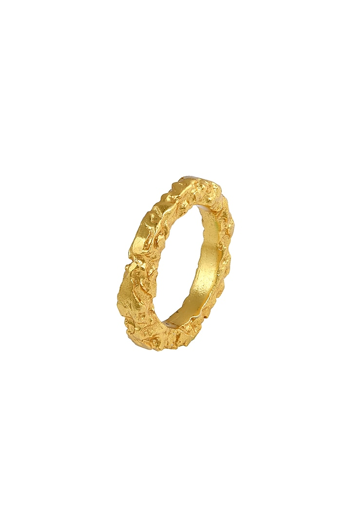Gold Plated Crudo Catene Ring by Flowerchild By Shaheen Abbas