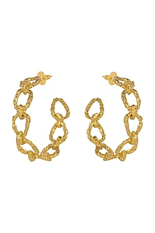 Gold Plated Crudo Catene Big Hoop Earrings by Flowerchild By Shaheen Abbas