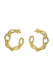 Gold Plated Crudo Catene Small Hoop Earrings by Flowerchild By Shaheen Abbas