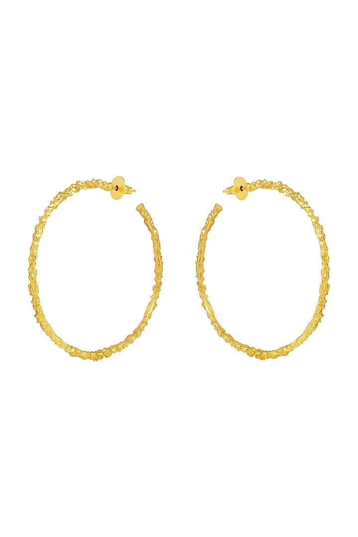 Gold Plated Crudo Textured Hoop Earrings by Flowerchild By Shaheen Abbas