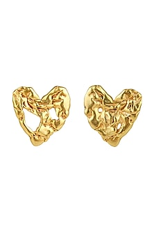 Gold Finish Crudo Heart Eartops by Flowerchild By Shaheen Abbas