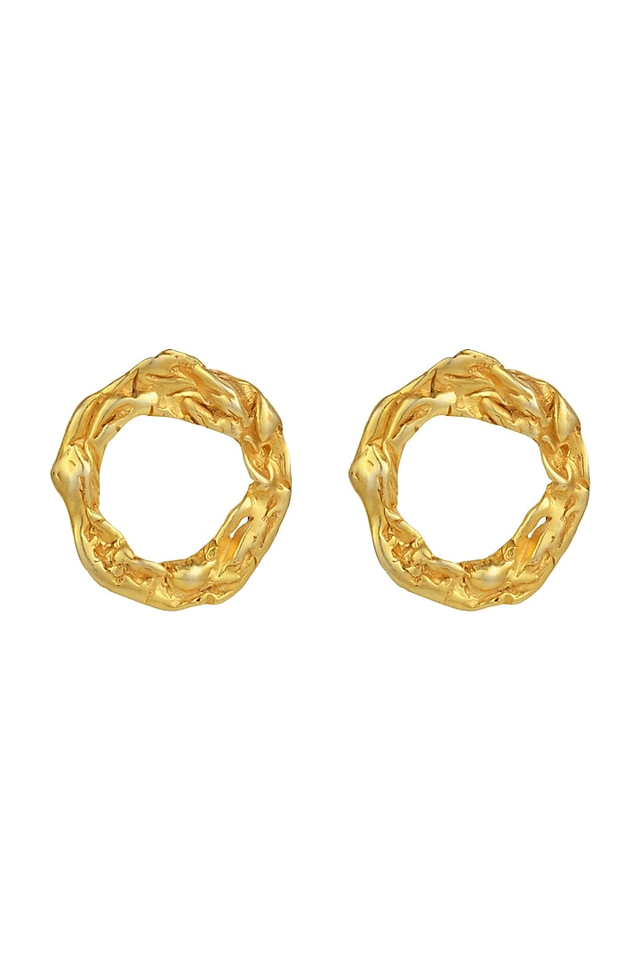 Gold Finish Crudo Halo Eartops by Flowerchild By Shaheen Abbas