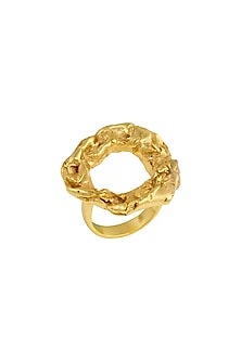 Gold Finish Crudo Halo Ring by Flowerchild By Shaheen Abbas