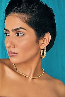 Gold Plated Baby Fiero Hoop Earrings by Flowerchild By Shaheen Abbas