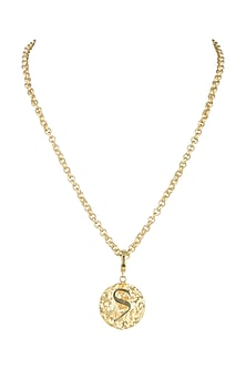 Gold Finish Medallion Chain Necklace by Flowerchild By Shaheen Abbas