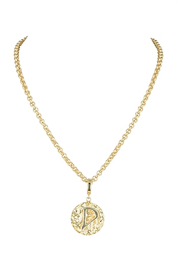 Gold Finish Chain Medallion Necklace by Flowerchild By Shaheen Abbas