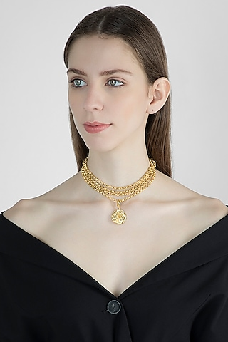 Gold Finish Medallion Choker Necklace by Flowerchild By Shaheen Abbas