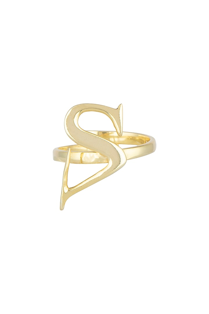 Gold Finish Alphabet Ring by Flowerchild By Shaheen Abbas