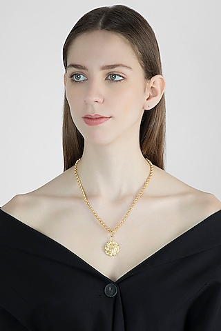 Gold Finish Medallion Necklace by Flowerchild By Shaheen Abbas