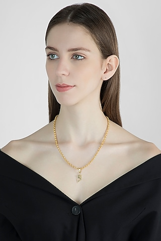 Gold Finish Pendant Necklace by Flowerchild By Shaheen Abbas