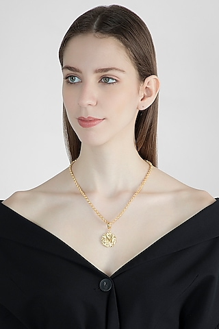 Gold Finish Princess Style Chain Necklace by Flowerchild By Shaheen Abbas