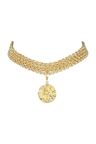 Gold Finish Choker Necklace by Flowerchild By Shaheen Abbas