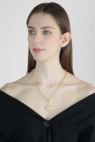Gold Finish Chain Princess Necklace by Flowerchild By Shaheen Abbas