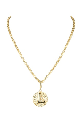 Gold Finish Medallion Princess Necklace by Flowerchild By Shaheen Abbas