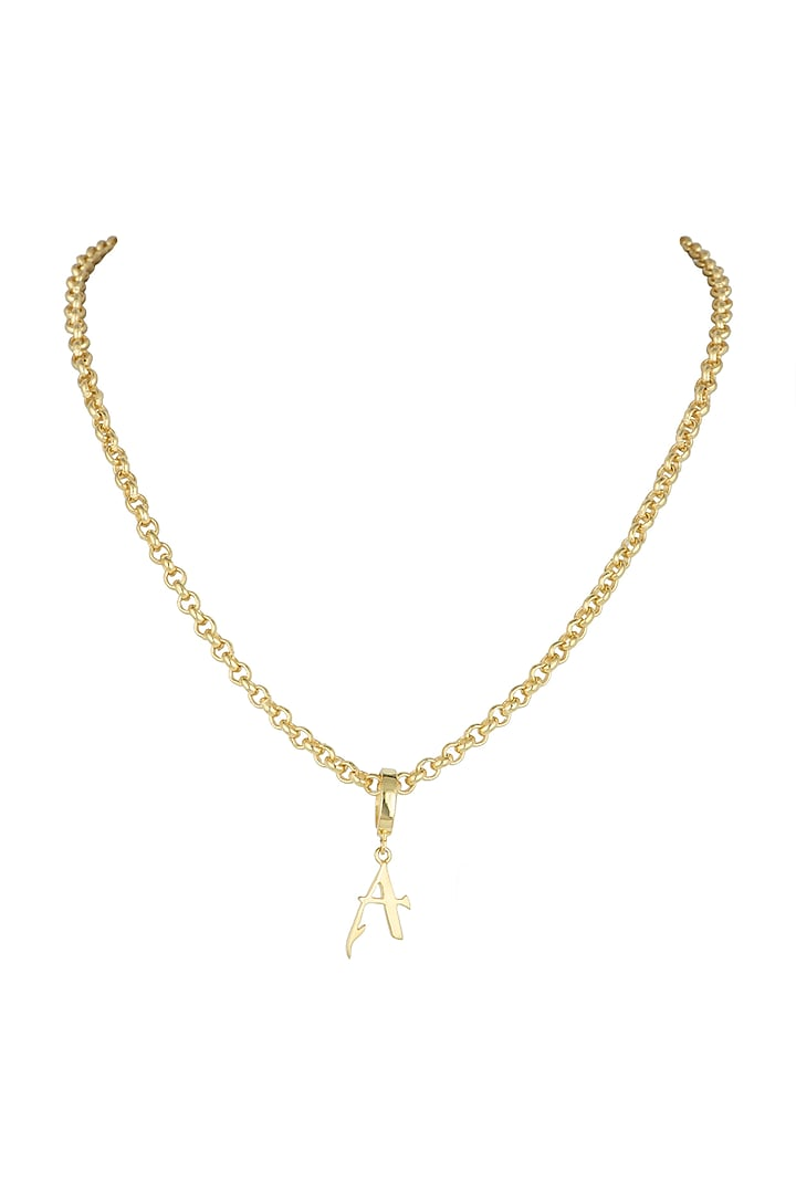 Gold Finish Princess Alphabet Necklace by Flowerchild By Shaheen Abbas