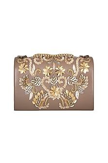 Brown Sequins & Bead Embellished Clutch by Studio Accessories