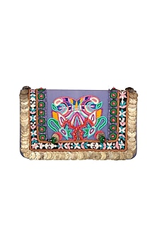 Multi Colored Denim Embroidered Clutch by Studio Accessories