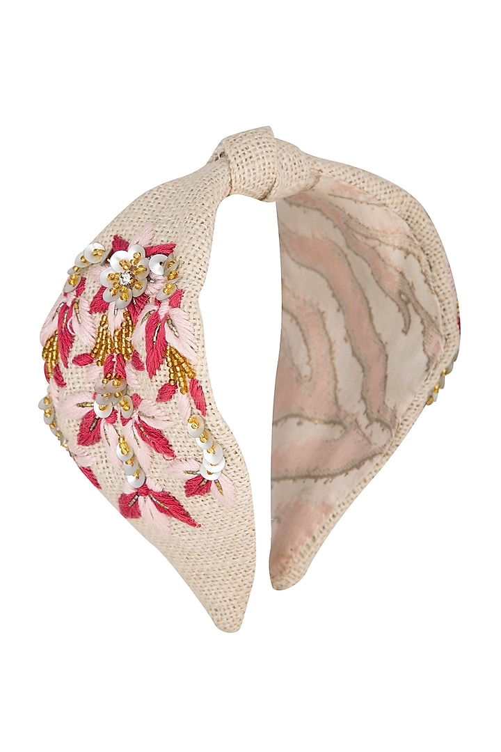 Pink Hand Embroidered Hairband by Studio Accessories