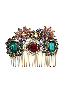 Multi Colored Embellished Hair Comb by Studio Accessories