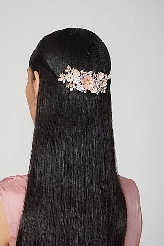 Peach Embellished Hair Comb by Studio Accessories