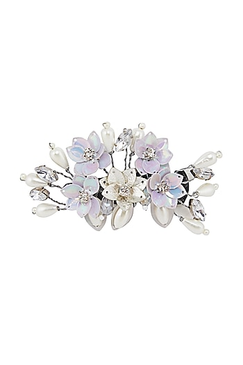 Silver Floral Embellished Tic Tac Clips by Studio Accessories