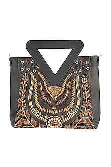 Black Beads Embroidered Bag by Studio Accessories