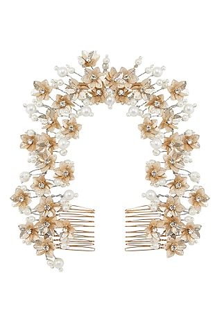 Gold & Silver Floral Wreath Hair Comb by Studio Accessories