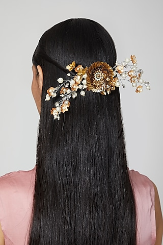 Gold, Silver Embellished Wreath Hair Comb by Studio Accessories