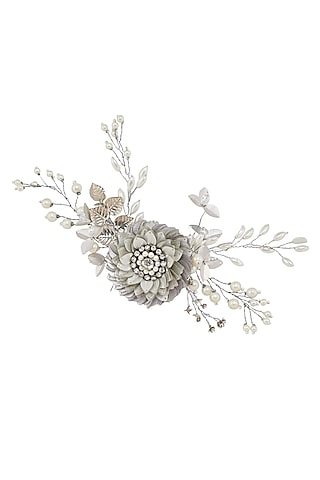 Silver Sequins Embellished Wreath Hair Comb by Studio Accessories