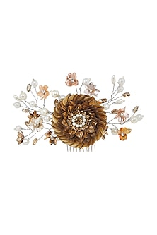 Gold & Silver Sequins Embellished Wreath Hair Comb by Studio Accessories