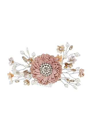 Peach Embellished Wreath Hair Comb by Studio Accessories