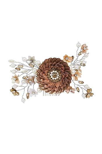 Peach & Gold Floral Wreath Hair Comb by Studio Accessories