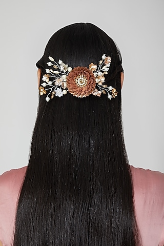 Peach & Gold Floral Wreath Hair Comb by Studio Accessories