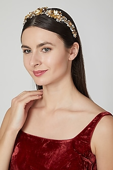 Gold Embellished Crown Hairband by Studio Accessories