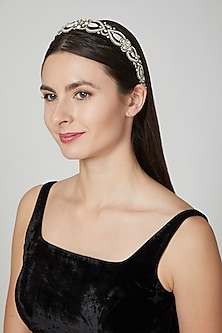Black & White Embellished Hairband by Studio Accessories