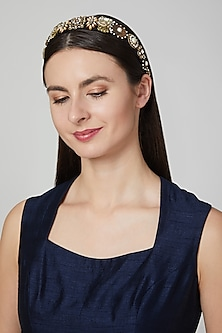 Black & Gold Embellished Hairband by Studio Accessories