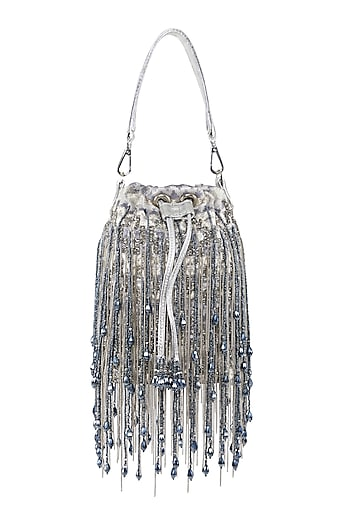 Silver Embellished Potli Bag by Studio Accessories