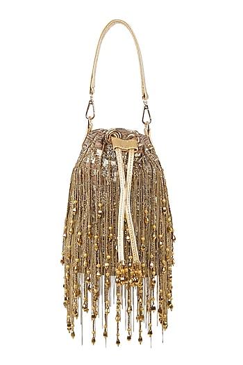 Gold Embellished Potli Bag by Studio Accessories