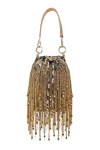Blue & Gold Embellished Potli Bag by Studio Accessories