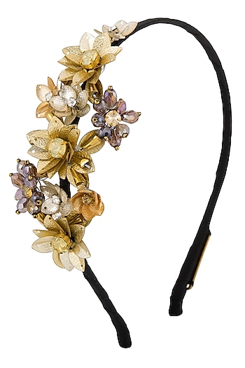 Gold Floral Embroidered Hairband by Studio Accessories