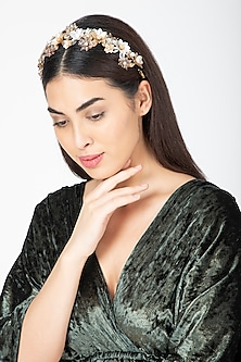 Gold & Silver Floral Embroidered Hairband by Studio Accessories