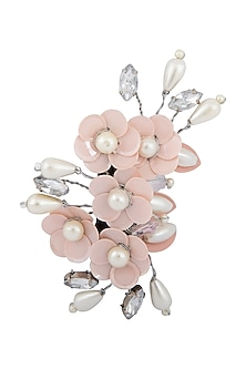 Peach & Silver Embellished Tic-Tac Hairclip by Studio Accessories