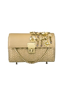 Gold Embellished Leather Clutch by Studio Accessories-Shop By Style