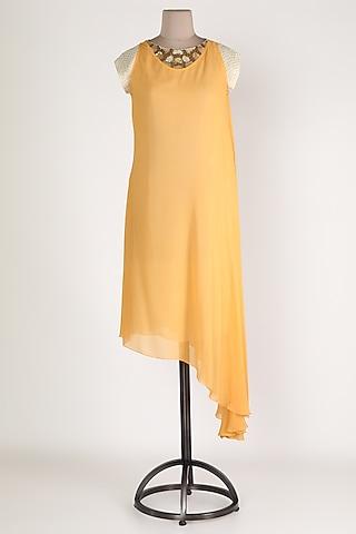 Yellow Asymmetric Tunic by Sadan Pande